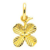 Photo de Médaille trèfle 4 feuilles - Or jaune 9ct