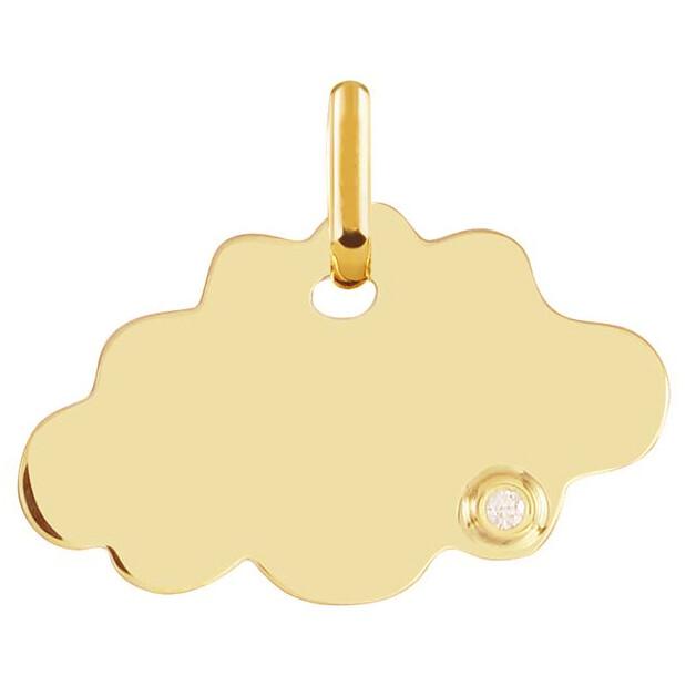 Photo de Médaille Nuage - diamant & or jaune 9ct