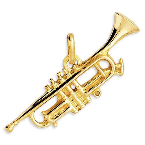 Photo de Pendentif trompette - Or jaune 18ct