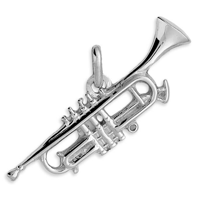 Photo de Pendentif trompette - Or blanc 9ct
