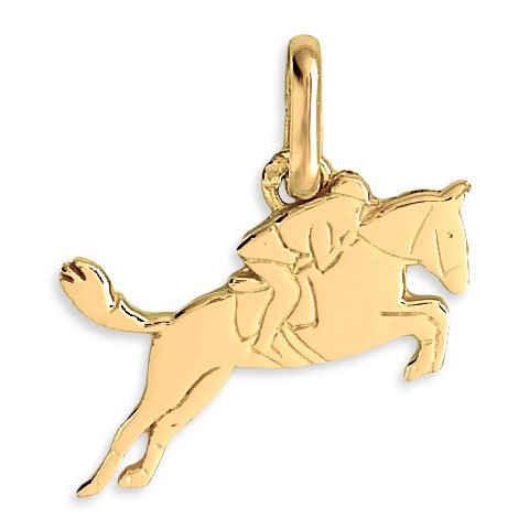 Photo de Pendentif cheval de course - Or jaune 18ct