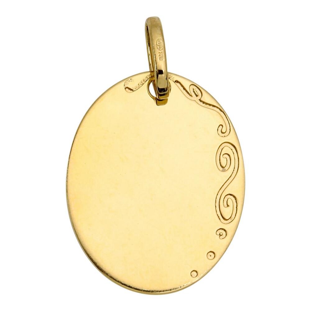 Photo de Médaille ovale arabesque - Or jaune 18ct