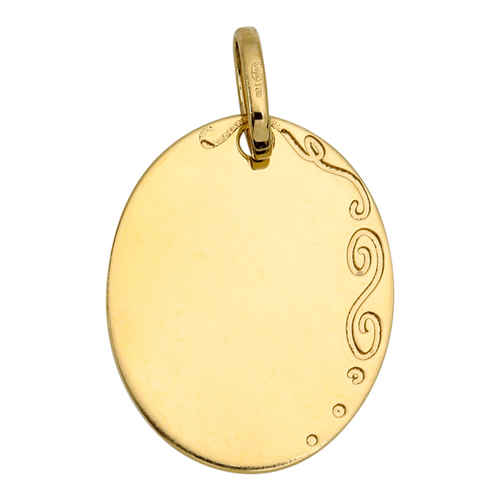 Photo de Médaille ovale arabesque - Or jaune 18ct