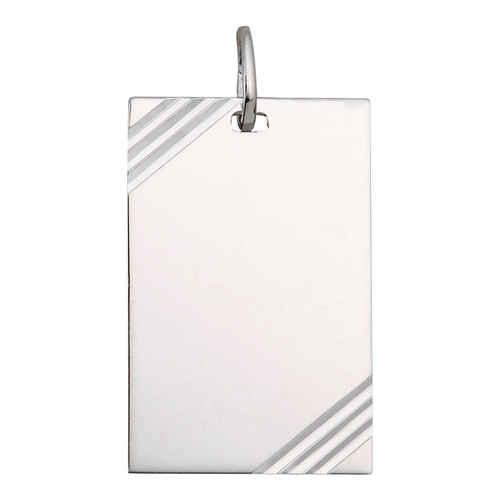 Photo de Pendentif plaque rectangle striée - Argent massif