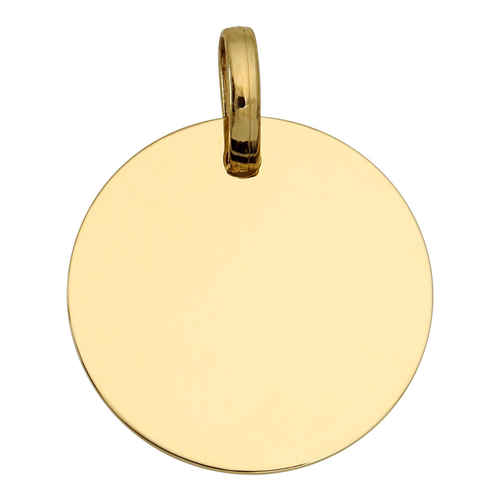 Photo de Pendentif plaque ronde - Or jaune 18ct