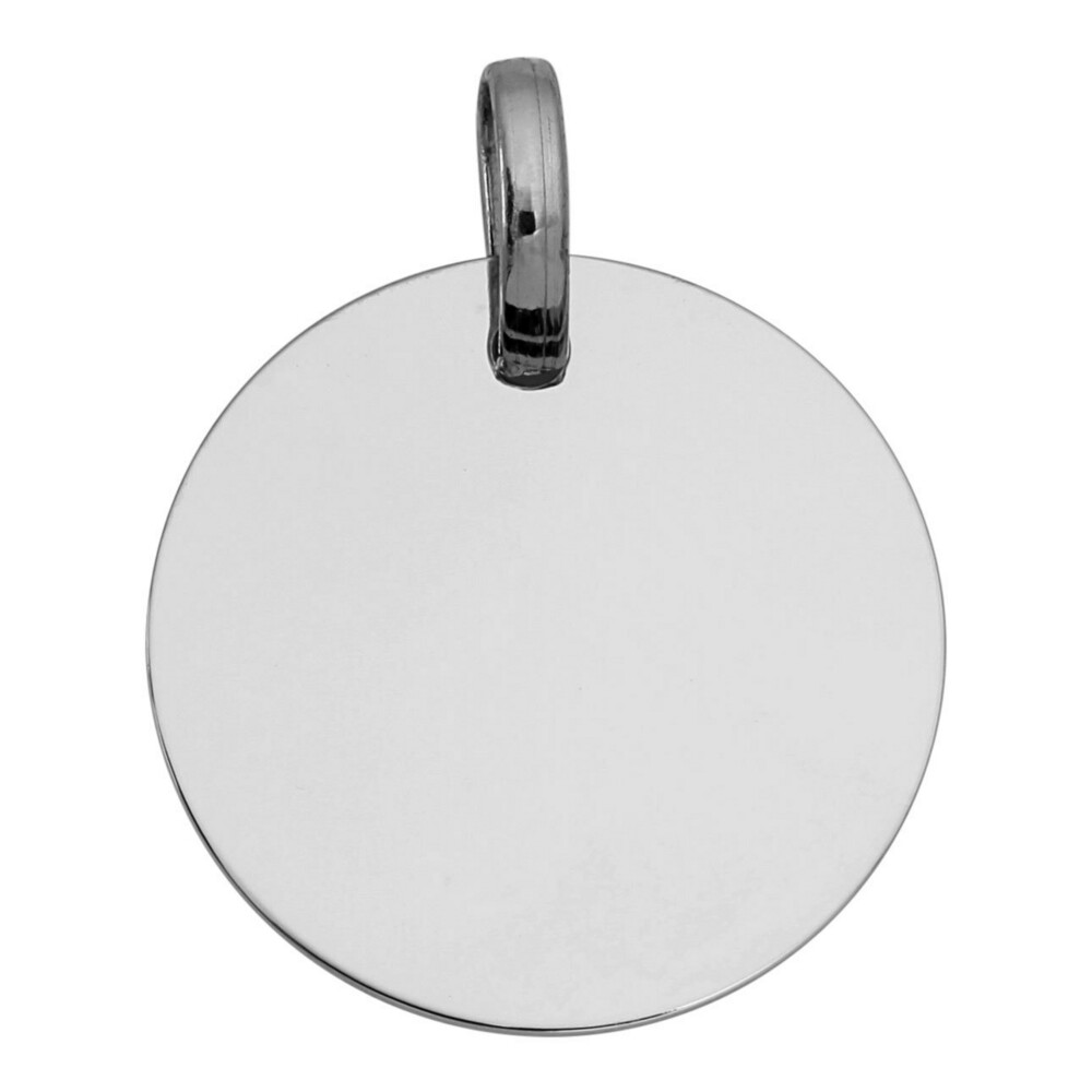 Photo de Pendentif plaque ronde - Or blanc 18ct