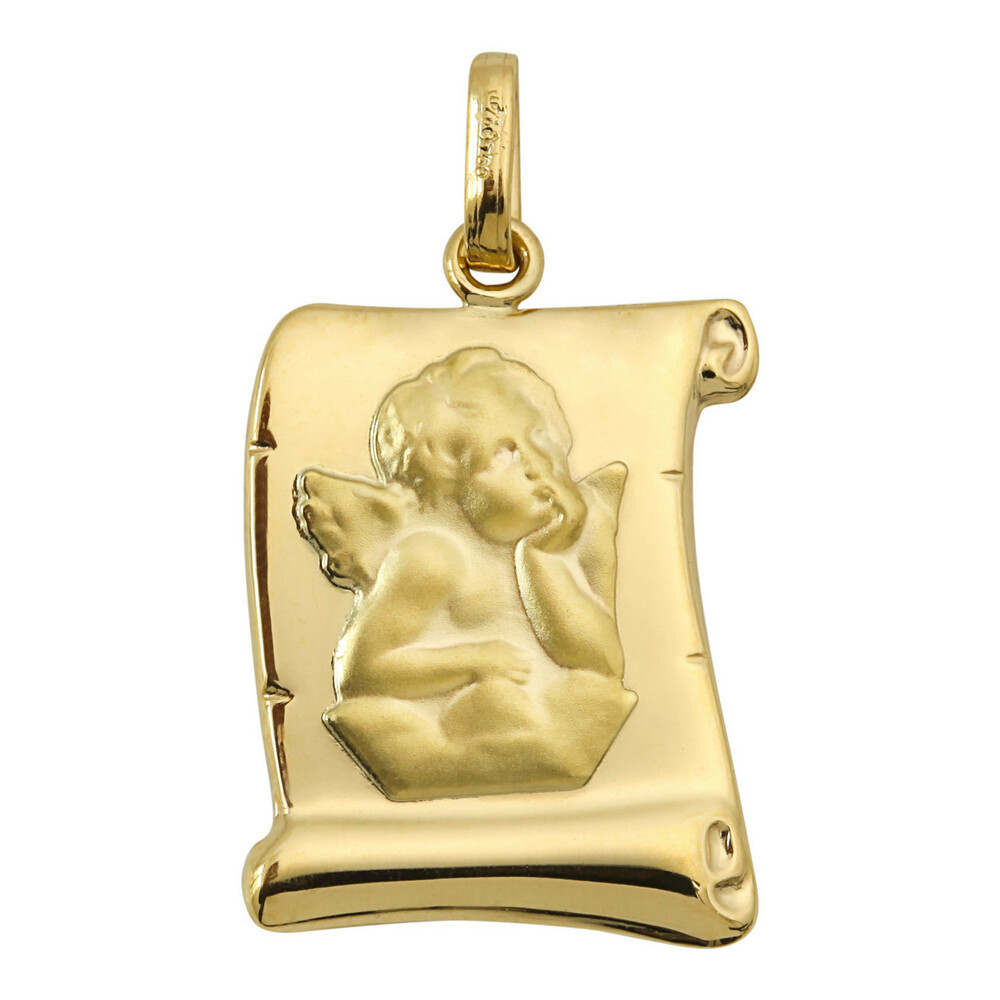 Photo de Médaille Ange parchemin - Or jaune 18ct