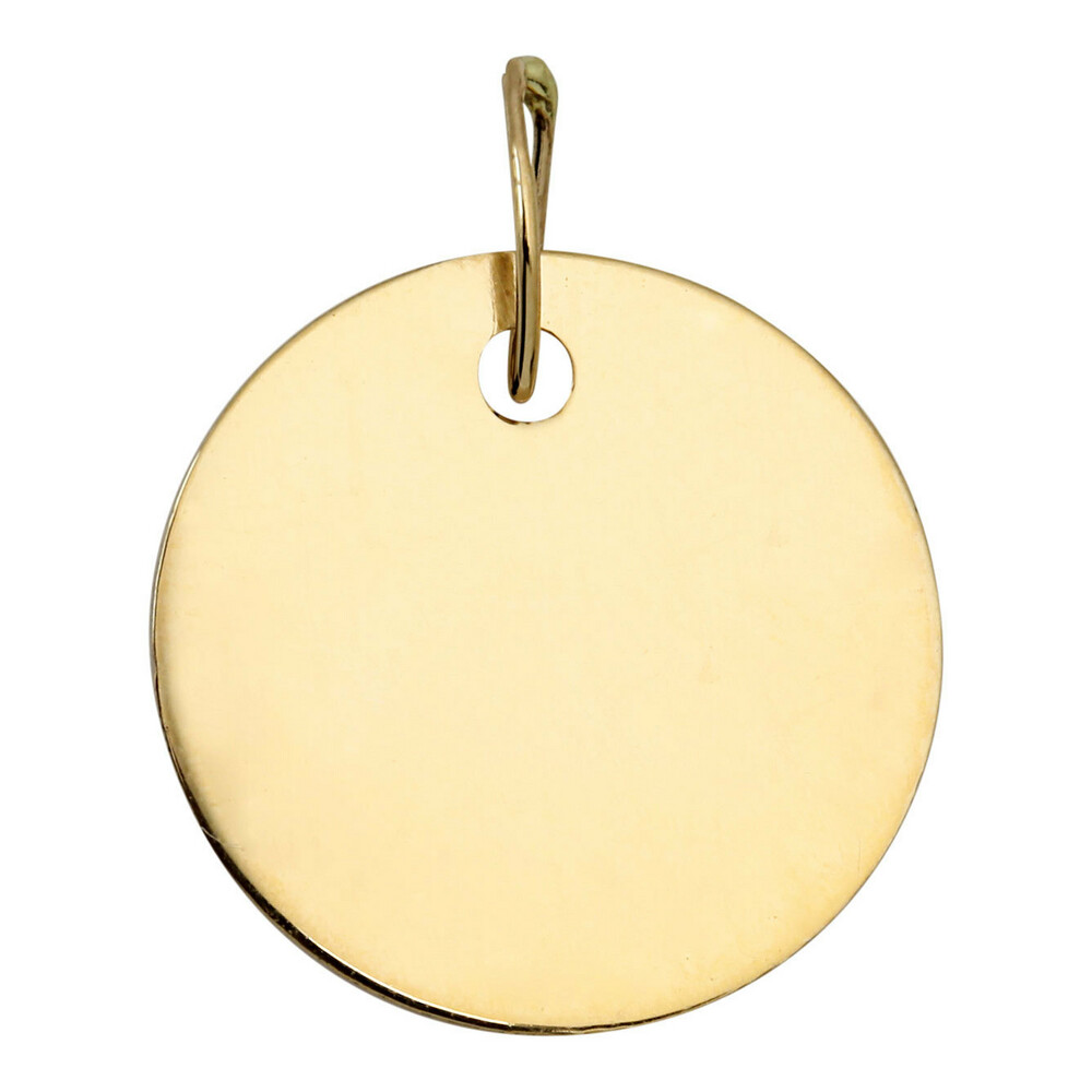 Photo de Pendentif plaque ronde - Or jaune 9ct