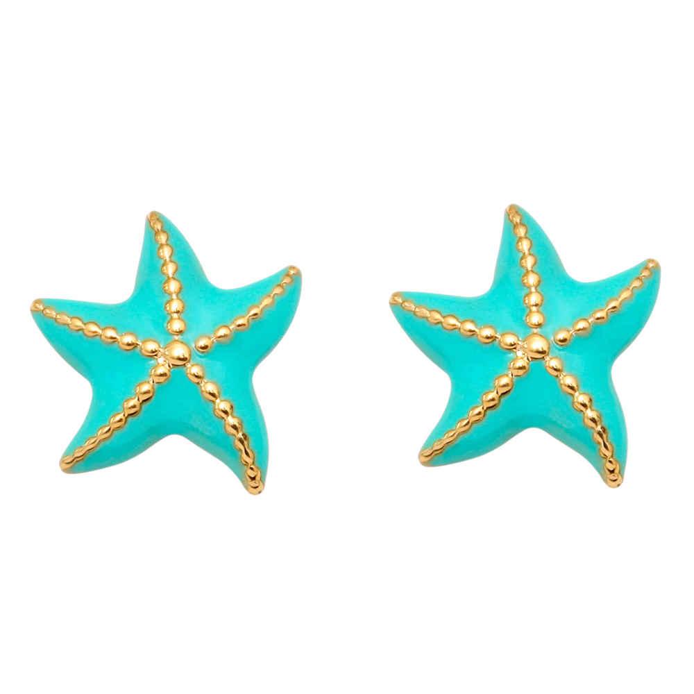 Photo de Boucles d'oreilles étoiles de mer - Vis - Or jaune 9ct