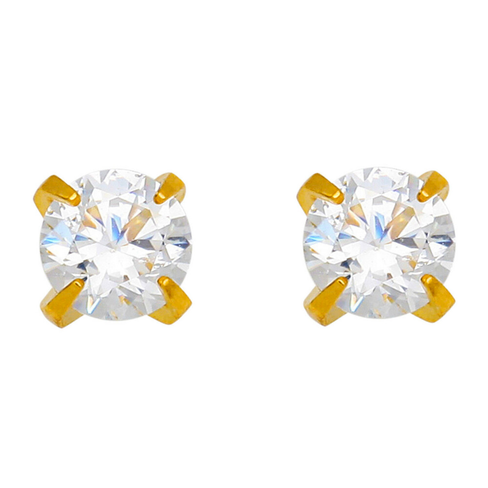 Photo de Boucles d'oreilles - puces - Or jaune 18ct