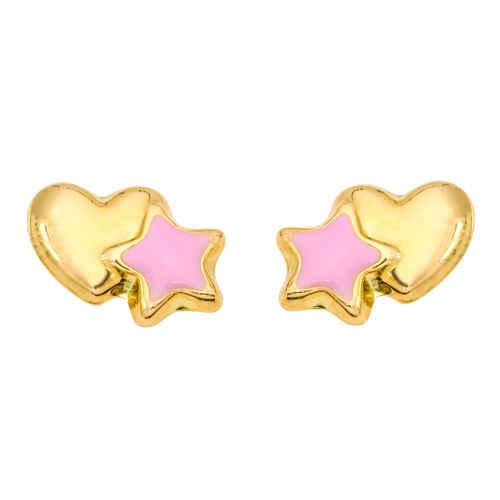 Photo de Boucles d'oreilles coeurs et étoiles - Puces - Or jaune 18ct
