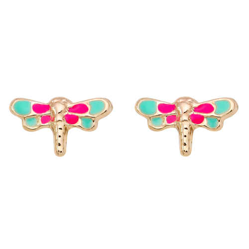 Photo de Boucles d'oreilles Libellules - Vis - Or jaune 9ct