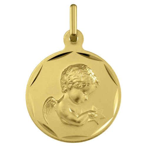 Photo de Médaille Ange à l'étoile - Or jaune 9ct