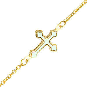 Photo de Bracelet croix tréflée - Or jaune 9ct & nacre