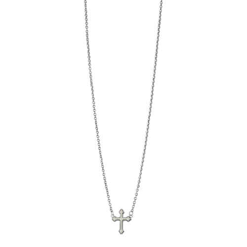 Photo de Collier croix tréflée - Or blanc 9ct & nacre