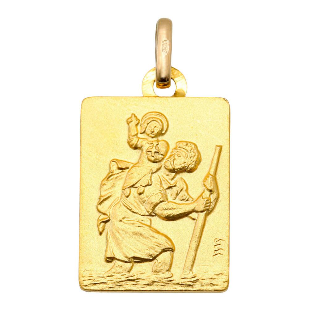 Photo de Médaille Saint Christophe rectangle - Or jaune 9ct