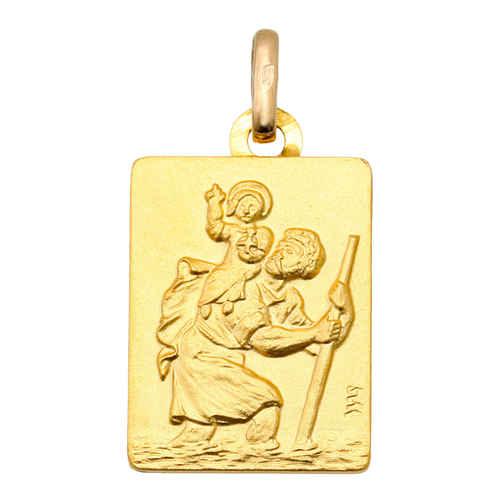 Photo de Médaille Saint Christophe rectangle - Or jaune 18ct