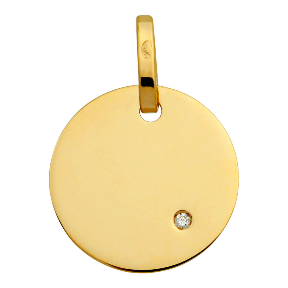 Photo de Pendentif plaque ronde - diamant & or jaune 18ct