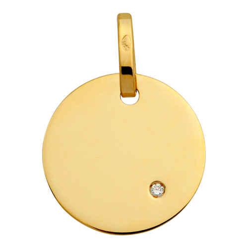 Photo de Pendentif plaque ronde - diamant & or jaune 18ct