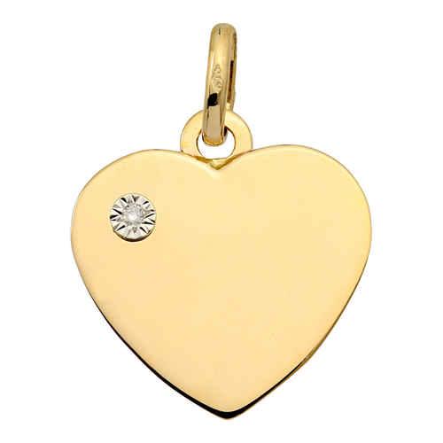 Photo de Pendentif coeur - diamant & or jaune 9ct