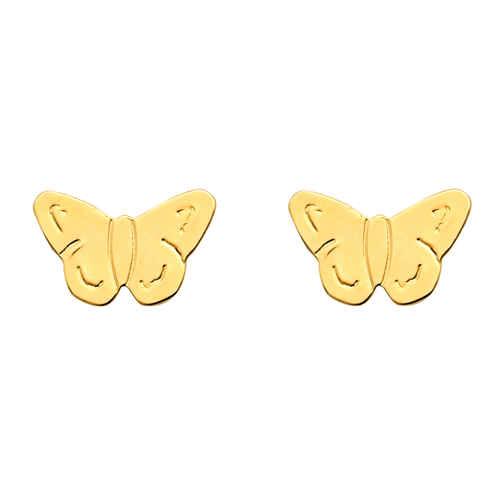 Photo de Boucles d'oreilles papillons - Puces - Or jaune 18ct
