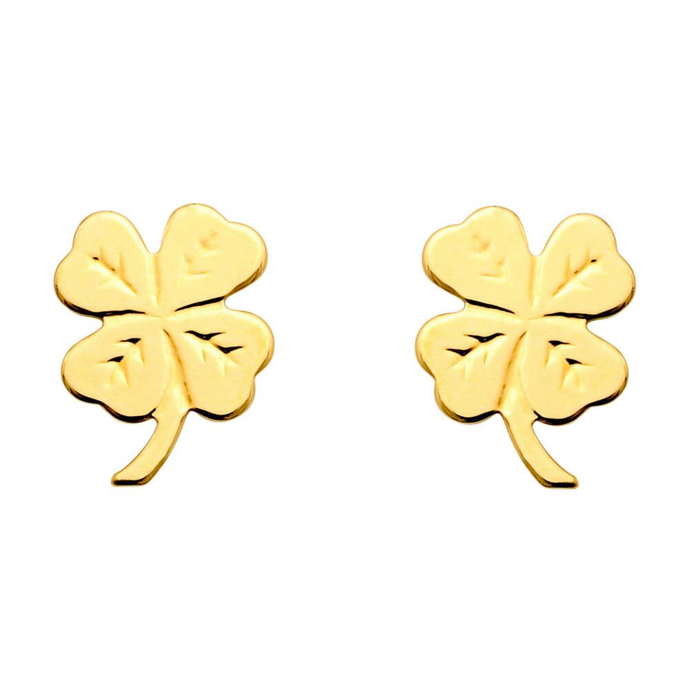 Photo de Boucles d'oreilles trèfles à 4 feuilles - Vis - Or jaune 18ct