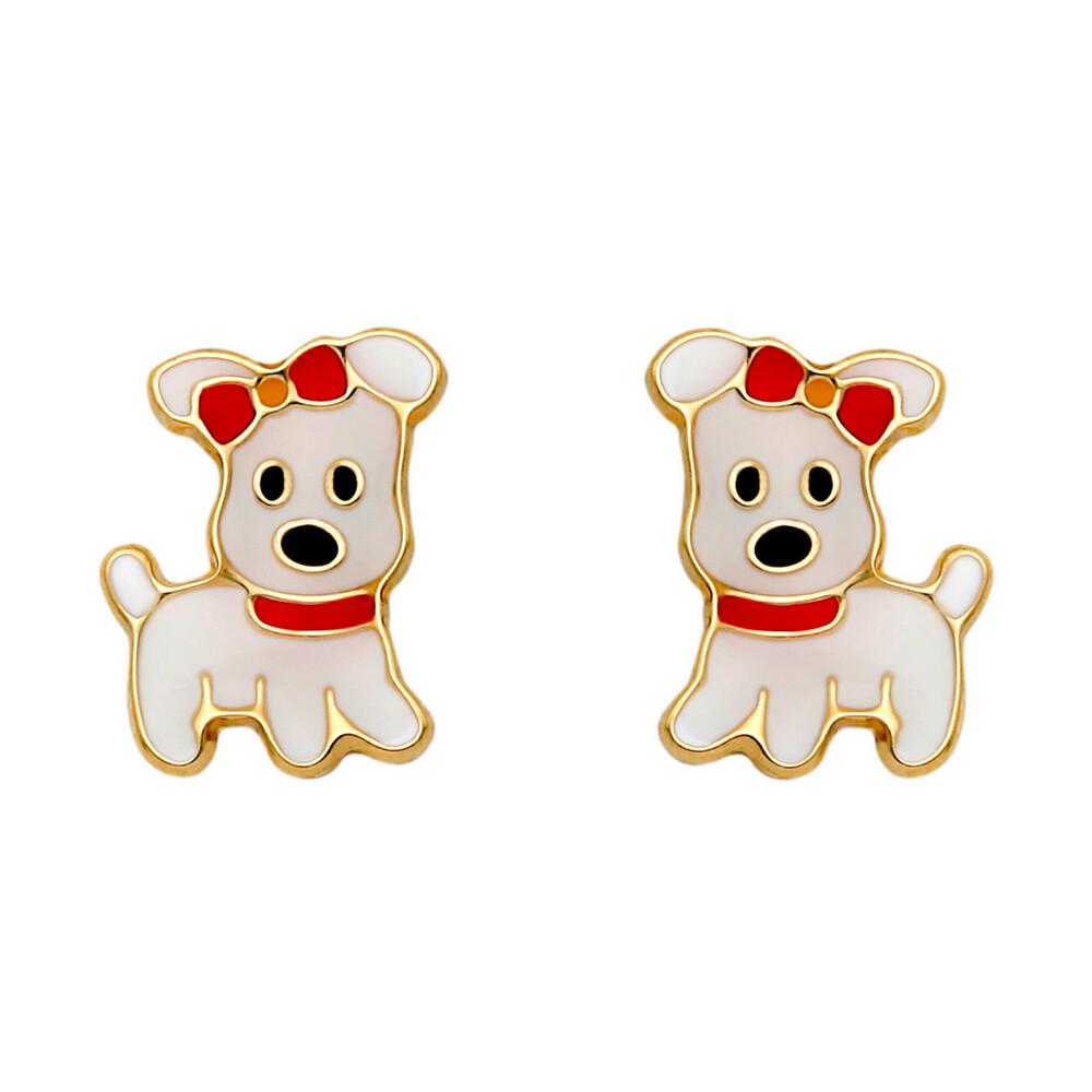 Photo de Boucles d'oreilles chiens - Vis - Or jaune 18ct