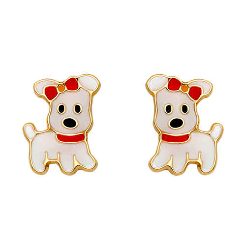 Photo de Boucles d'oreilles chiens - Vis - Or jaune 18ct