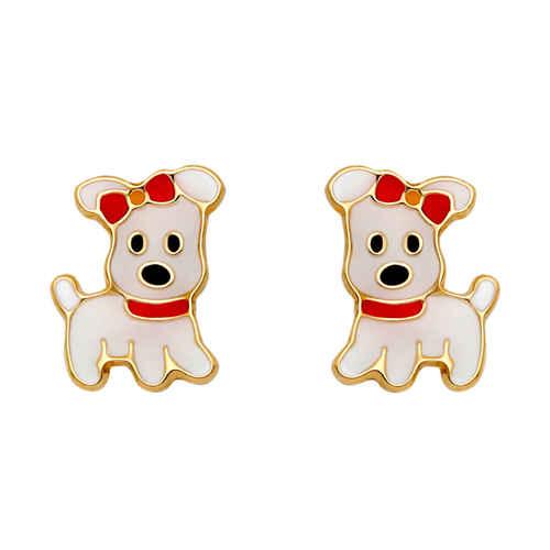 Photo de Boucles d'oreilles chiens - Vis - Or jaune 9ct
