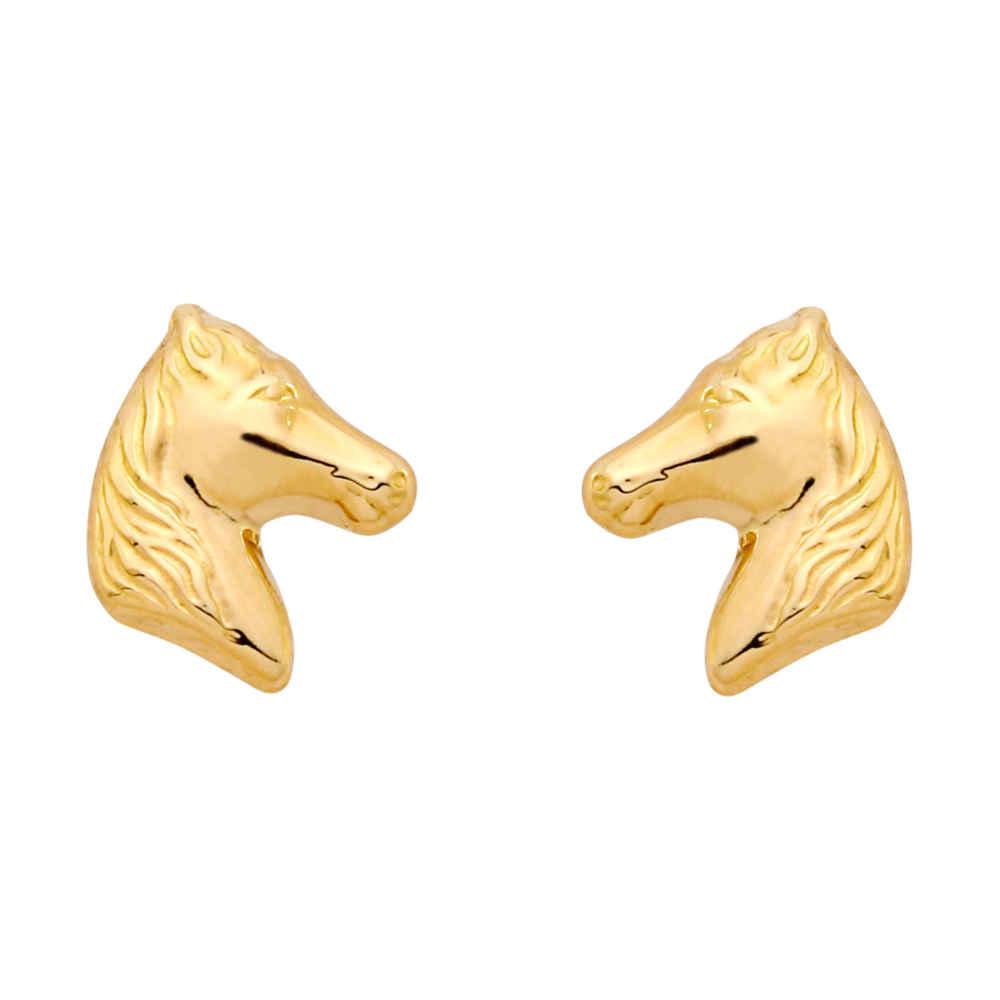 Photo de Boucles d'oreilles chevaux - Puces - Or jaune 18ct