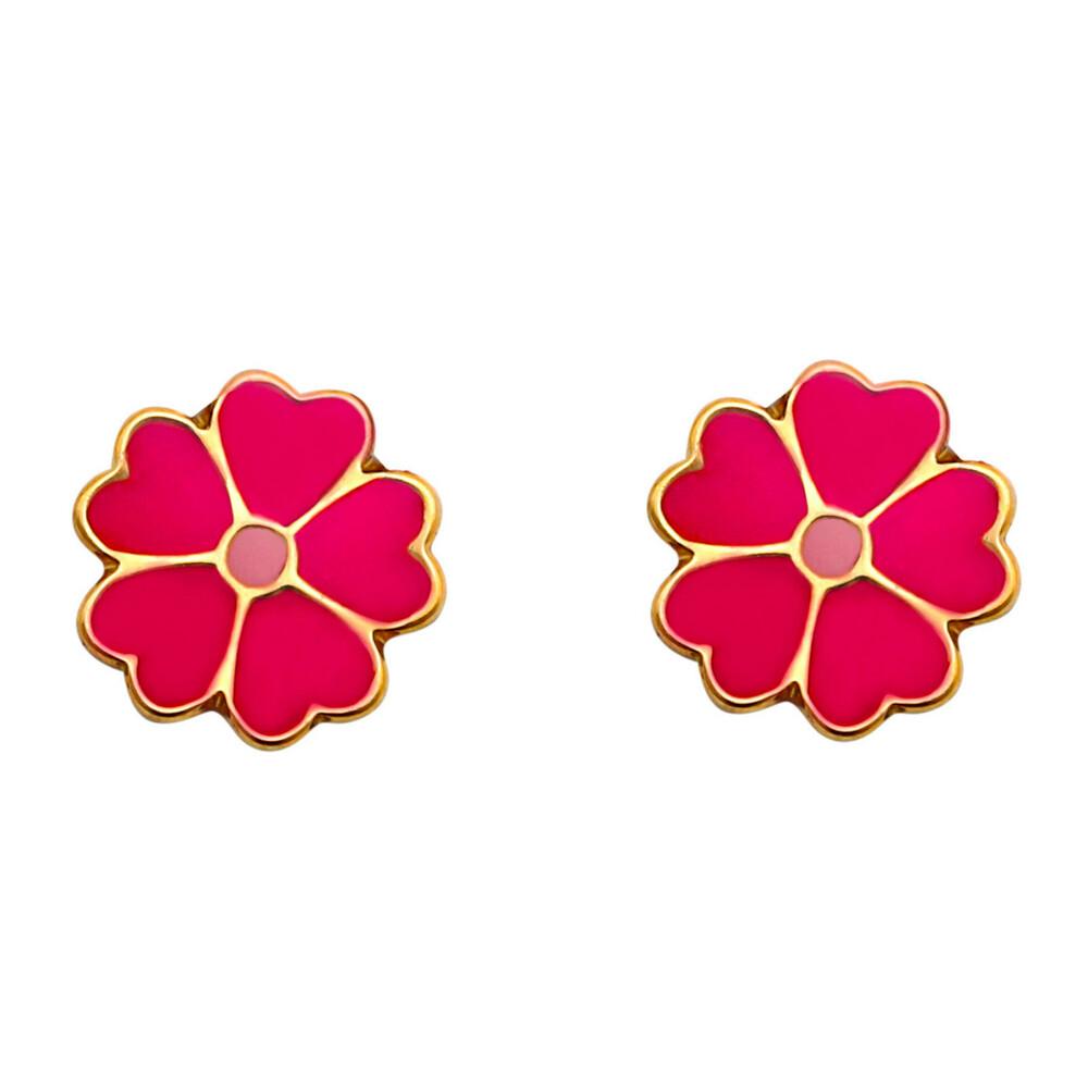 Photo de Boucles d'oreilles fleurs - Vis - Or jaune 18ct