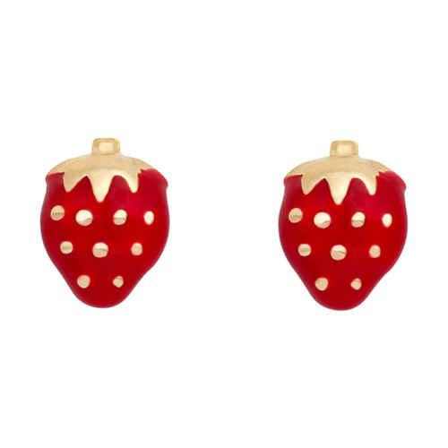 Photo de Boucles d'oreilles fraises - Vis - Or jaune 9ct