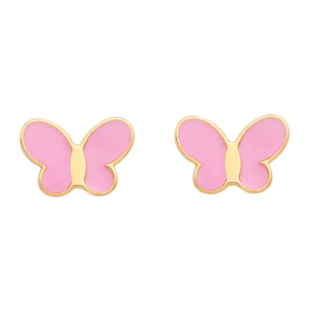 Photo de Boucles d'oreilles papillons - Puces - Or jaune 18ct