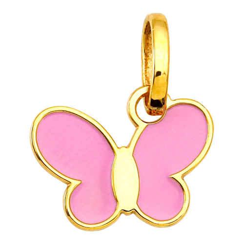 Photo de Pendentif papillon rose - Or jaune 18ct