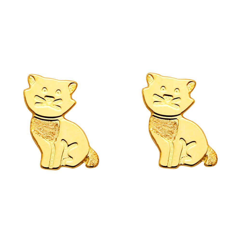 Photo de Boucles d'oreilles chats - Puces - Or jaune 18ct