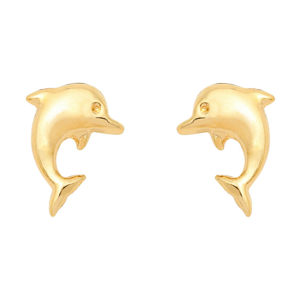 Photo de Boucles d'oreilles dauphins - Vis - Or jaune 18ct