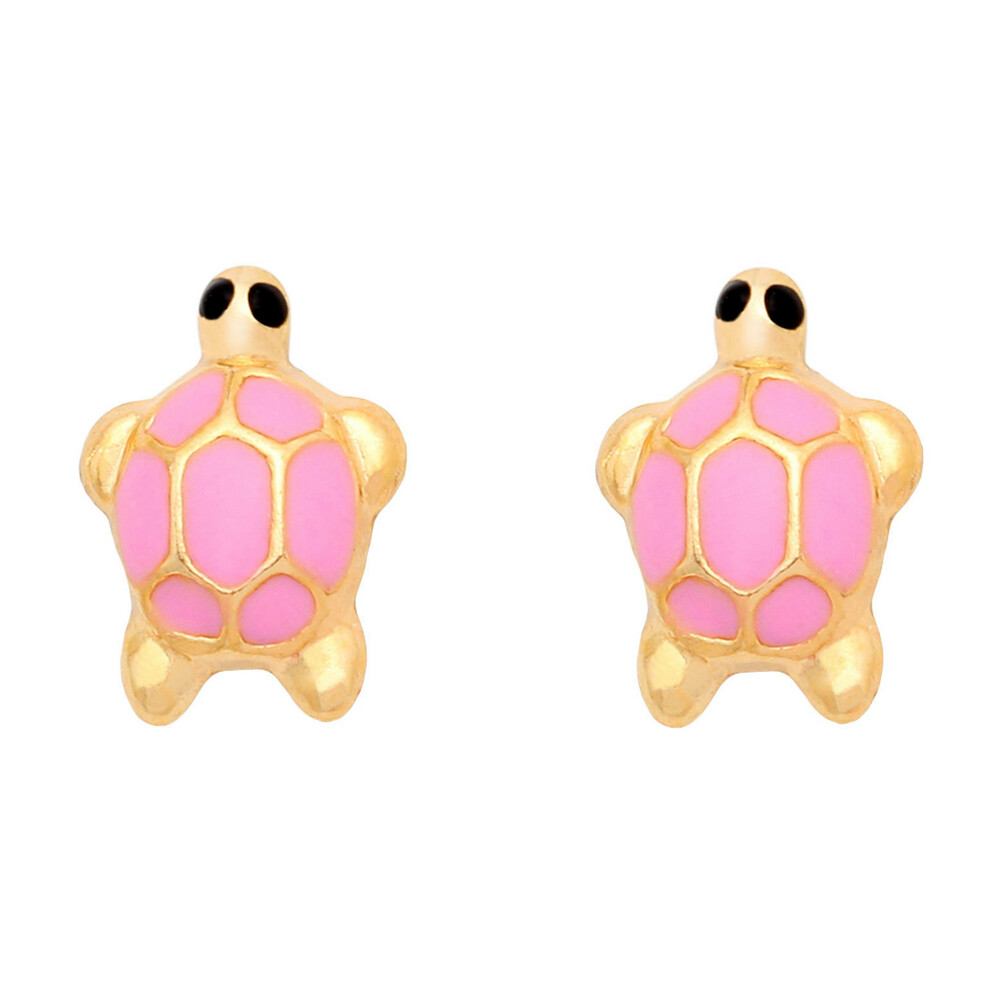 Photo de Boucles d'oreilles tortues - Vis - Or jaune 18ct