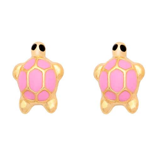 Photo de Boucles d'oreilles tortues - Vis - Or jaune 18ct