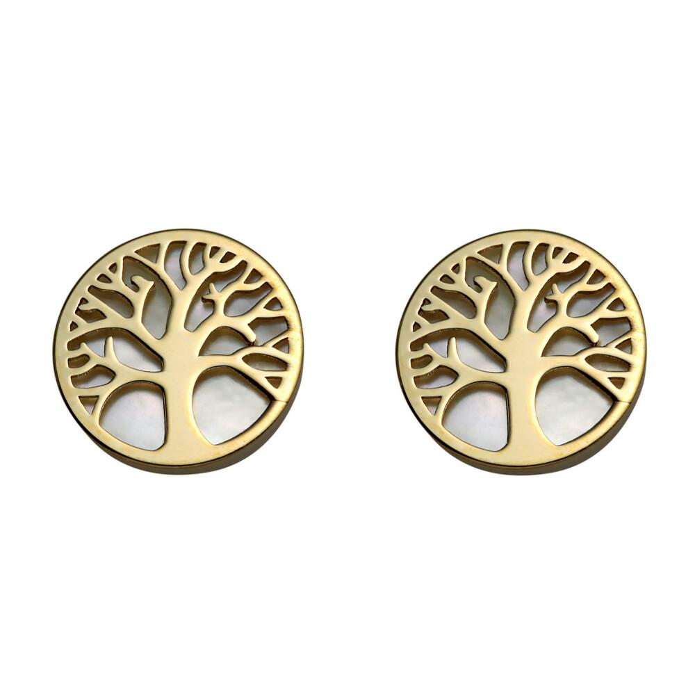 Photo de Boucles d'oreilles arbres de vies - Puces - Or jaune 9ct & nacre