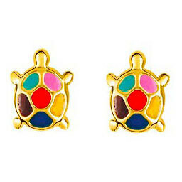 Photo de Boucles d'oreilles tortues multicolor - Vis - Or jaune 9ct
