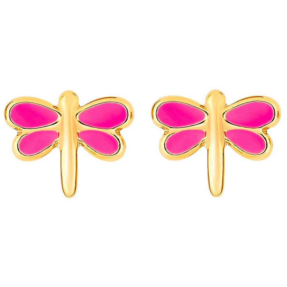 Photo de Boucles d'oreilles libellules - Vis - Or jaune 9ct
