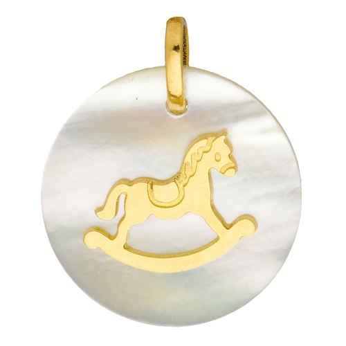 Photo de Médaille Cheval à bascule - Or jaune 18ct & nacre