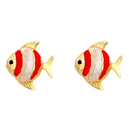 Photo de Boucles d'oreilles poissons - Vis - Or jaune 18ct