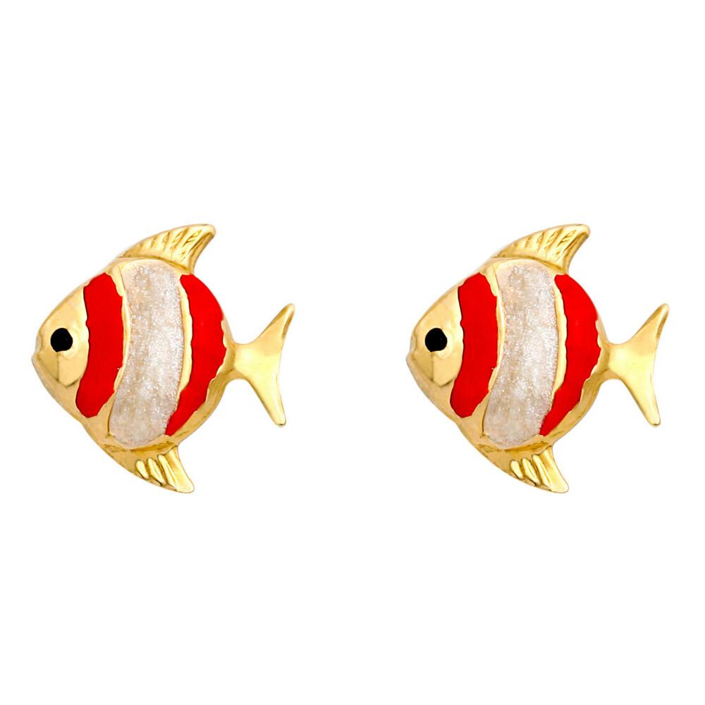 Photo de Boucles d'oreilles poissons - Vis - Or jaune 9ct