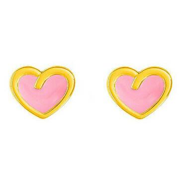 Photo de Boucles d'oreilles coeurs - Vis - Or jaune 18ct