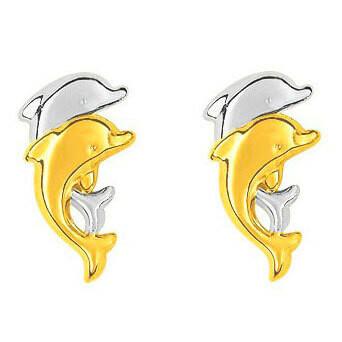 Photo de Boucles d'oreilles dauphins - Vis - Or jaune & or blanc 18ct