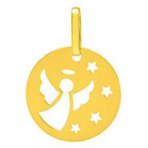 Photo de Médaille Ange aux étoiles ajourée - Or jaune 18ct