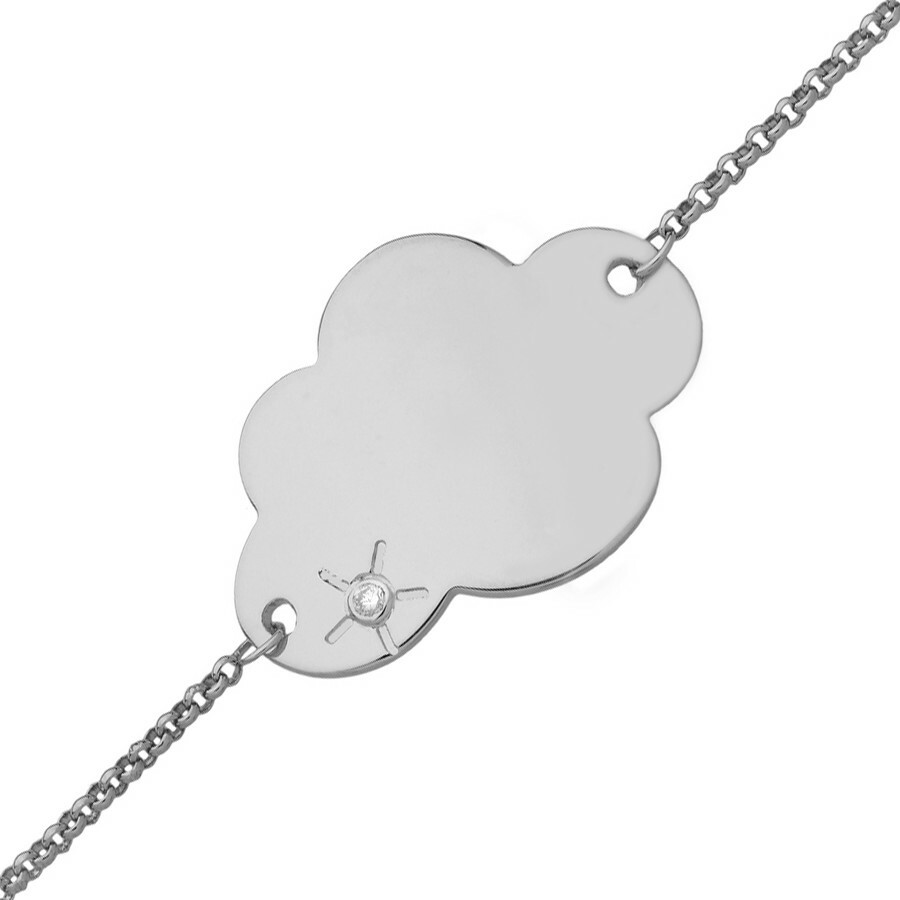 Photo de Gourmette bébé nuage - diamant & or blanc 18ct