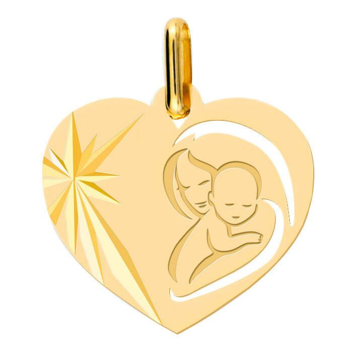 Photo de Médaille Vierge à l'enfant en coeur ajourée - Or jaune 9ct