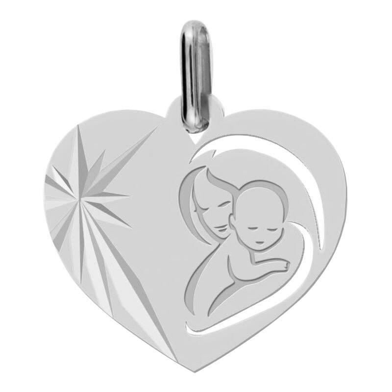 Photo de Médaille Vierge à l'enfant en coeur ajourée - Or blanc 9ct
